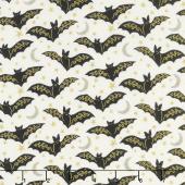 Midnight Spell - Bats Cream Metallic Yardage