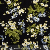 Poppies - Daisies Black Yardage