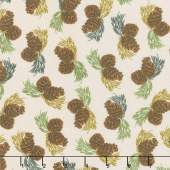 Home Sweet Cabin - Pinecones Khaki Yardage