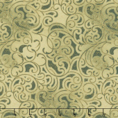 Grand Illusion - Scroll Green Metallic Yardage