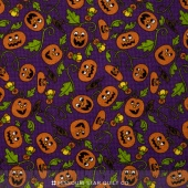 Pumpkin Party Flannel - Pumpkin Patch Purple Yardage