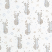 Snow is Falling - Rustic Reindeer Heads Cream Yardage