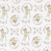 Cotton Muslin Double Gauze - Sweet Bambi White Yardage