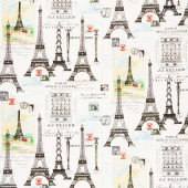 Couturiere Parisienne - Eiffel Tower Cream Yardage