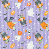 A Haunting We Will Glow - Halloween Motifs Tossed Purple Glow in the Dark Yardage