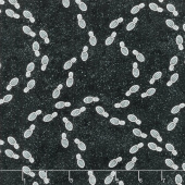 Ghostly Glow Town - Footprints Black Glow in the Dark Yardage