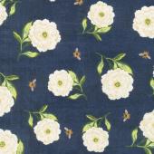 Floral Serenade - Peony Toss Navy Yardage