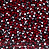 Scotty Love - Love Me Hearts Black Flannel Yardage