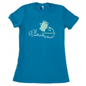 Needle Pulling Thread X-Large Women's Youth Fit Crew Neck T-Shirt - Aqua