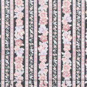 Woodside Blossom - Floral Stripes Charcoal Yardage