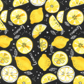 When Life Gives You Lemons - Tossed Lemons Black Yardage