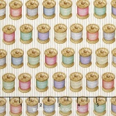 Cute as a Button - Spools Of Thread Eggshell Yardage