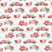 Holiday Heartland - Trucks Allover Gray Red Yardage