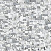 Scandi - Houses Grey Yardage