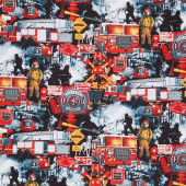 Fire & Rescue - Firefighter Patchwork Black Yardage