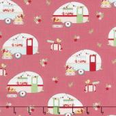Vintage Adventure - Camper Pink Yardage