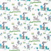 Animal Magic - Dogs & Cats Gray Yardage