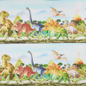 Dinosaur Friends - Dino Border Stripe Multi Yardage