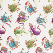 Cat-I-Tude Christmas - Playful Cats White Multi Metallic Yardage