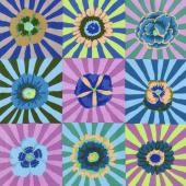 Kaffe Fassett Collective Fall 2017 - Dusk Sunburst Blue Yardage