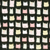 Meow and Forever - Cat Heads Black Yardage