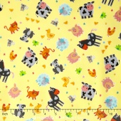 Funny Farm - Tossed Animals Yellow Yardage