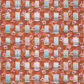 Happy Place - Windows Flowers Terracotta Digitally Printed Yardage