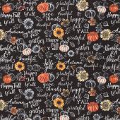 Gather Here - Happy Fall Y'all Black Yardage
