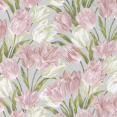 Totally Tulips - Pink & Grey Totally Tulips Yardage