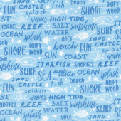 Go Fish - Seaside Script Blue Yardage