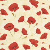 Scarlet Dance - Poppies Allover Tan Yardage