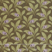 Sweet Violet - Violet & Leaves Earth Yardage