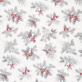 Holiday Flourish Scarlet - Holly Silver Metallic Yardage