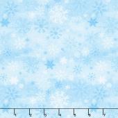 Snow Valley - Snowflakes Blue Yardage