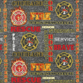 Fire Fighter - Words Multi Yardage