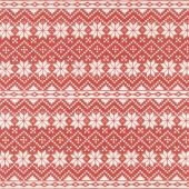 Nordic Christmas - Snowflake Stripe Red Yardage