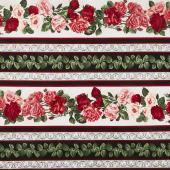 "Rose Garden - 11"" Rose Stripe Multi Yardage"