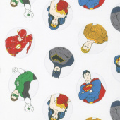 Justice League Activated - Justice Badges in White Yardage