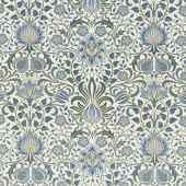 Morris Holiday 1904 - Persian Linen Indigo Metallic Yardage