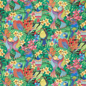 Tropical Flair - Birds  Black Yardage