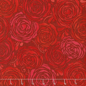 Sugar Berry - Candied Roses Radiant Ruby with Red Glitter Yardage