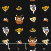 The Lion King - Character Heads Black Yardage
