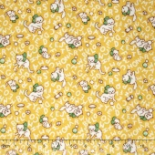 Storybook Flannel - Alphabet Cats Yellow Yardage