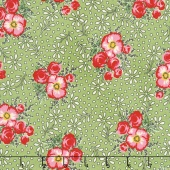 Merry Go Round - Large Floral Green Yardage