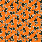 Here We Glow - Tossed Cats Orange Glow in the Dark Yardage
