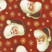 Christmas Eve - Santa Head Red Yardage