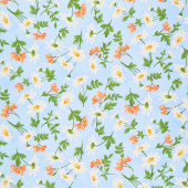 Fresh as a Daisy - Daisies & Berries Blue Sunshine Yardage