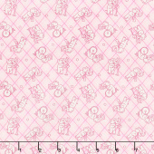 Nana Mae IV - Tossed Elephants on Plaid Pink Yardage