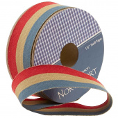 "Northport Twill Trim - 1 1/2"" Red/Tan/Navy"