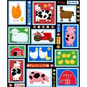Farm Life - Farm Patchwork Black Yardage